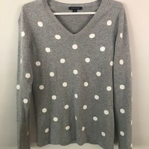 Gray sweater with white polka dots